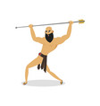 angry man gladiator with long metal spear attack vector image vector image