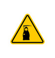 attention death dangers of yellow road sign grim vector image