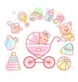 bain carriage bastroller and kids objects vector image vector image