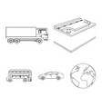 battery and transport outline icons in set vector image