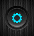 black button with blue settings sign on carbon vector image