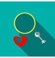 Bracelet with heart and key icon flat style vector image vector image