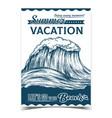 breaking pacific ocean marine wave poster vector image vector image