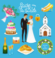 bride and groom wedding ceremony set newlyweds vector image vector image