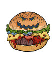 burger fast food with halloween pumpkin face vector image vector image