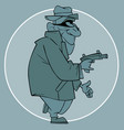 cartoon male robber in mask with a gun in his hand vector image