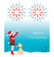 christmas children and dog happy with fireworks vector image vector image