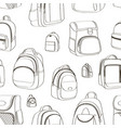 colored teenager school backpacks pattern vector image vector image