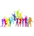 colorful people jumping and dancing vector image
