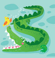 crocodile and bird funny kid graphic vector image