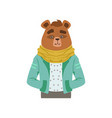 cute fashion bear guy character hipster animal vector image vector image