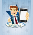 cute successful businessman with phone- star vector image