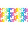 Cute white unicorns silhouette on rainbow colorful