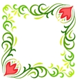 Doodle color abstract flower corner frame vector image vector image