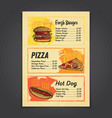 fastfood menu card with hand drawn vector image