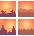 Flat sunset Desert mountains and sea vector image vector image