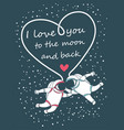 funny spacemen love happy valentines day greeting vector image