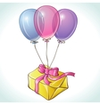 Happy birthday card with balloons and gift vector image