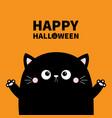 happy halloween cute cat face head holding hands vector image vector image