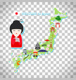 japan travel map on transparent background vector image vector image