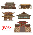 japanese travel landmarks with religion buildings vector image vector image