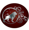 leo zodiac sign in circle frame vector image vector image
