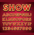 light bulb alphabet with gold frame and shadow vector image