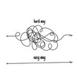 messy line like hard and easy way flat linear vector image