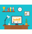 Modern office interior with seo desktop vector image vector image
