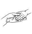 mom holds the child hand vector image vector image