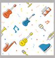 Music Instruments Objects Seamless Pattern vector image vector image