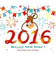 New Year 2016 monkey card vector image