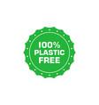plastic free 100 percent green round sticker eco vector image vector image