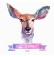 set watercolor cute deer vector image vector image