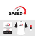 speedometer logo design with business card and t vector image vector image