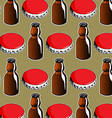steel red cover and glass bottle background vector image vector image