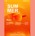 summer music poster with sunglasses and palm vector image