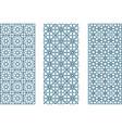 three arabesque geometric seamless jaulosies in vector image