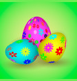 three easter eggs with colorful flowers vector image vector image