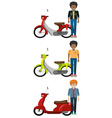 Three faceless men with vehicles vector image vector image