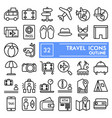 travel line icon set vacation symbols collection vector image