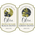 two labels for green and black olives vector image vector image
