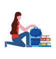 woman with backpack and books education school vector image vector image
