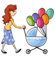 A girl and baby pram vector image vector image