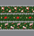 border set with santa claus christmas tree vector image vector image