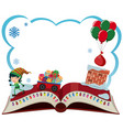 border template with christmas elf and presents vector image vector image