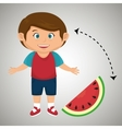 boy cartoon sliced watermelon vector image