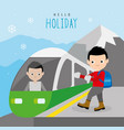 boy train railway mountain travel holiday vector image vector image