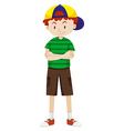 Boy wearing cap and shorts vector image vector image