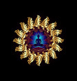 buddha silhouette in lotus position gold mandala vector image vector image